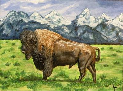 Teton Mixed Media - Teton Buffalo by Lorrie T Dunks