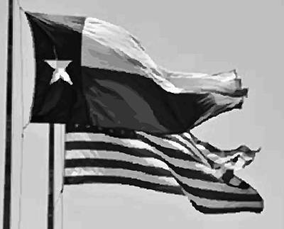 Photograph - Texas And Usa Flags Flying Bw45 by Scott Kelley
