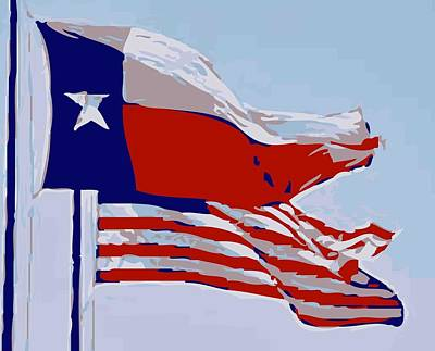 Heart Of Texas Digital Art - Texas And Usa Flags Flying Color 12 by Scott Kelley