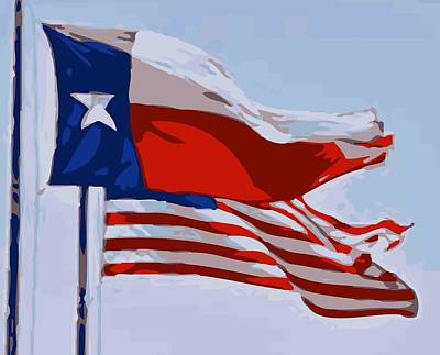 Heart Of Texas Digital Art - Texas And Usa Flags Flying Color 16 by Scott Kelley