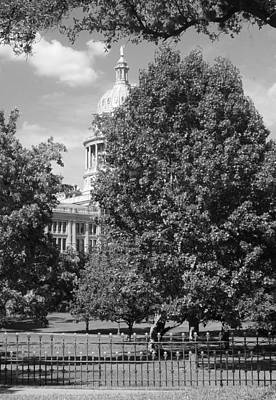 Texas Capitol Building In Austin Bw Art Print by Elizabeth Sullivan