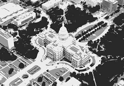 Heart Of Texas Digital Art - Texas Capitol Bw3 by Scott Kelley