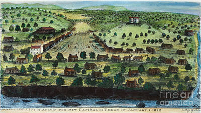 Texas: City Of Austin 1840 Art Print by Granger