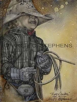 Virgil C Stephens Painting - Texas Cowboy by Virgil Stephens