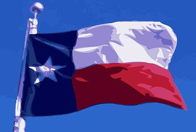 Heart Of Texas Digital Art - Texas Flag Pole Color 16 by Scott Kelley