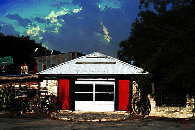 Store Fronts Mixed Media - Texas Garage by Kelly Rader