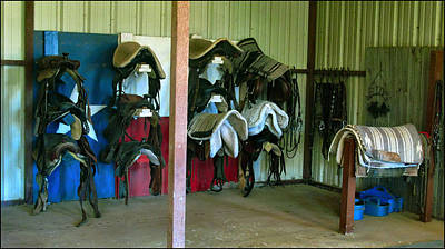 Photograph - Texas Horse Saddles 2009 by Glenn Bautista