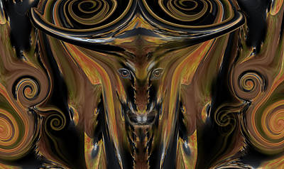 Longhorn Mixed Media - Texas Longhorn Abstract Digital Painting by Heinz G Mielke