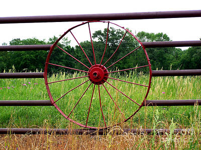 Art Print featuring the photograph Texas Wildflowers Through Wagon Wheel by Kathy  White