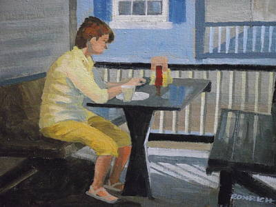 Texting At Breakfast Art Print by Robert Rohrich
