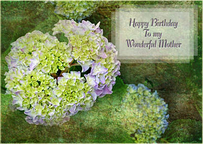 Digital Art - Textured Hydrangeas Birthday Mother Greeting Card by Debbie Portwood