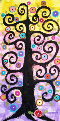 Mixed Media Art Painting - Textured Tree by Karla Gerard
