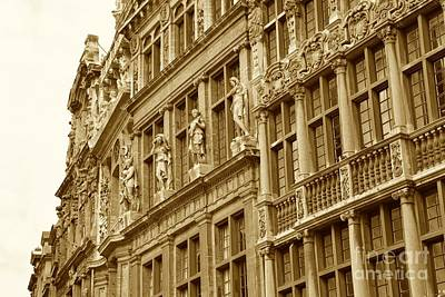 Sepia Photograph - Textures Of Brussels - Sepia by Carol Groenen