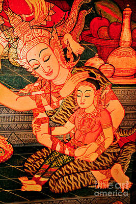 Thai Drawing - Thai Mother And Child. by Phaitoon Chooti