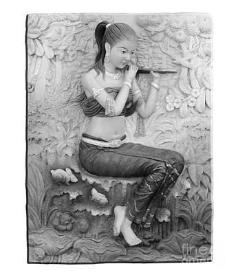 Thai Style Bas-relief Decorated On  Wall  Art Print by Phalakon Jaisangat