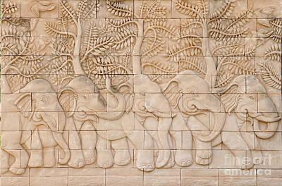Thai Style Handcraft Of Elephant Art Print by Phalakon Jaisangat