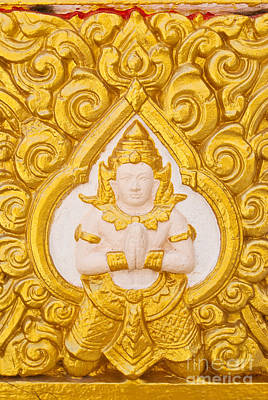 Thailand Buddha Statue On The Temple Wall. Original by Weerayut Kongsombut