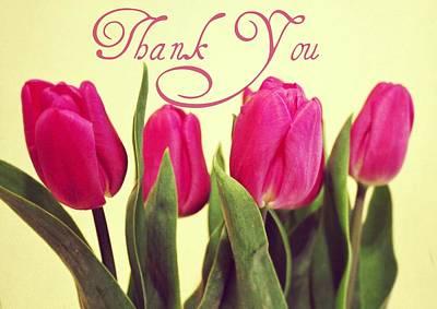 Purple Flowers Digital Art - Thank You by Cathie Tyler