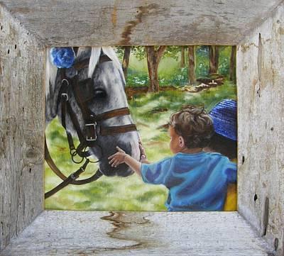 Boy Painting - Thank You's Framed by Lori Brackett