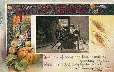 Photograph - Thanksgiving Card, 1909 by Granger