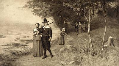 Thanksgiving, Pilgrims Holding Bibles Art Print by Everett