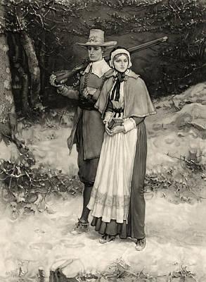 Thanksgiving, Print Showing A Puritan Art Print by Everett