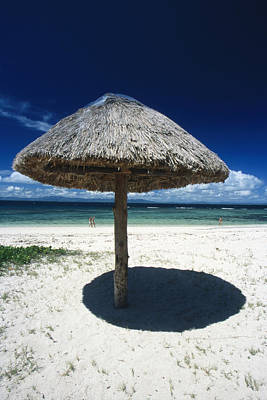Thatch Palapa Umbrella On Beach Art Print by James Forte