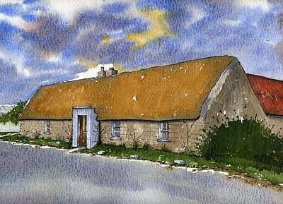 Vernacular Architecture Painting - Thatched House Sandy Lane Rush County Dublin Ireland. by Brendan Lynch