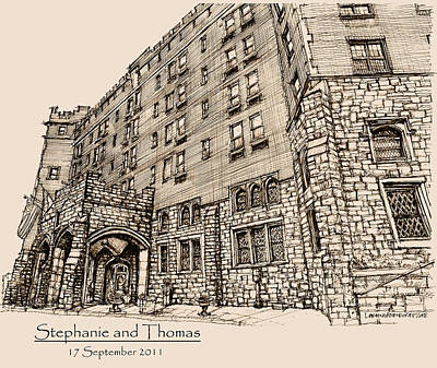 Anniversary Present Drawing - Thayer Hotel For Steph And Thomas by Building  Art
