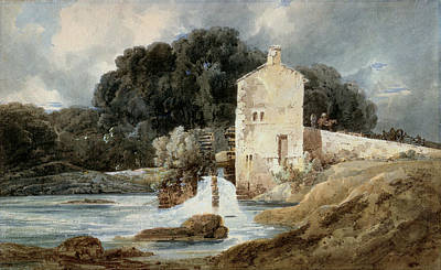 Water Mill Painting - The Abbey Mill - Knaresborough by Thomas Girtin