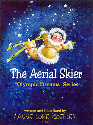 Aerial Skiing Painting - The Aerial Skier - Book Cover by Hanne Lore Koehler
