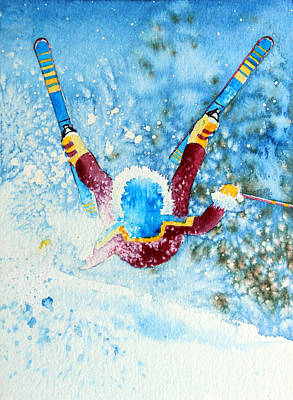 Aerial Skiing Painting - The Aerial Skier - 14 by Hanne Lore Koehler