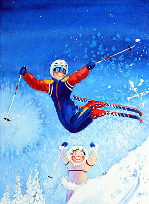 Aerial Skiing Painting - The Aerial Skier 19 by Hanne Lore Koehler