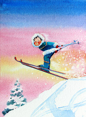 Aerial Skiing Painting - The Aerial Skier - 7 by Hanne Lore Koehler