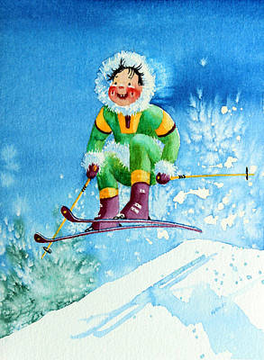 Aerial Skiing Painting - The Aerial Skier - 9 by Hanne Lore Koehler