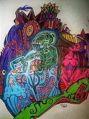 The Alien Post Man Art Print by Ragdoll Washburn
