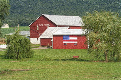 All American Painting - The All American Red Barn by Heinz G Mielke
