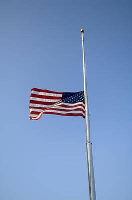 The American Flag At Half Staff  Due Art Print by Joel Sartore