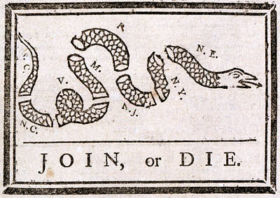 The American Revolution, Join Or Die Art Print by Everett