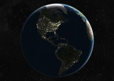 The Americas At Night, Satellite Image Art Print