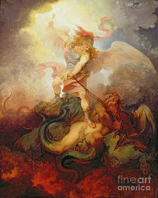 The Angel Binding Satan Art Print by Philip James de Loutherbourg