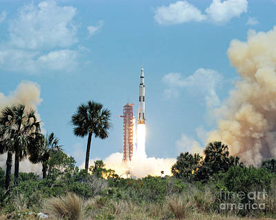 The Apollo 16 Space Vehicle Is Launched Art Print
