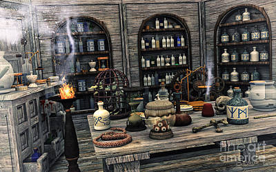 Digital Art - The Apothecary by Jutta Maria Pusl