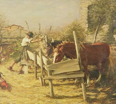 Horse Fence Painting - The Appian Way by Henry Herbert La Thangue