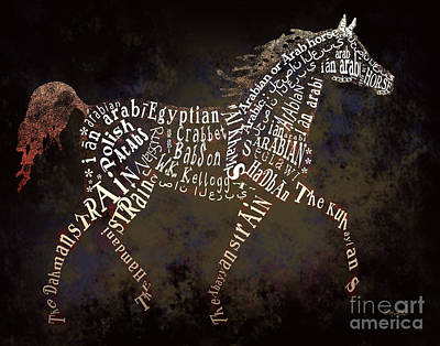 The Arabian Horse In Typography Art Print by Ginny Luttrell