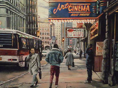 Art Print featuring the painting The Art Cinema In The 80s. by James Guentner