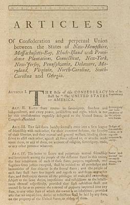 The Articles Of Confederation. First Art Print by Everett