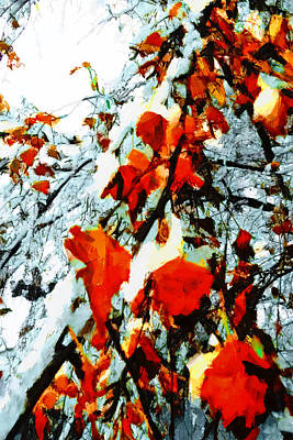 Art Print featuring the photograph The Autumn Leaves And Winter Snow by Steve Taylor
