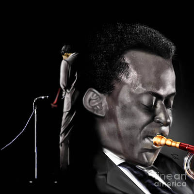 Trumpet Painting - The Back And The Affront Of Miles Davis by Reggie Duffie