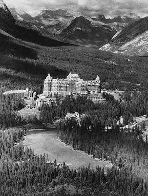 The Banff Springs Hotel In The Bow Art Print by Everett